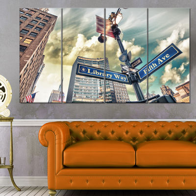 Designart Library Way And 5Th Avenue Street SignsModern Cityscape Canvas Art Print - 4 Panels