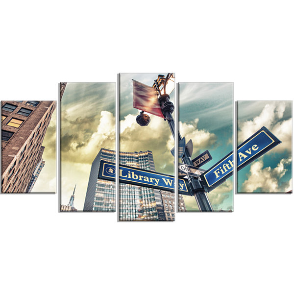 Designart Library Way And 5Th Avenue Street SignsLarge Modern Cityscape Canvas Art Print - 5 Panels
