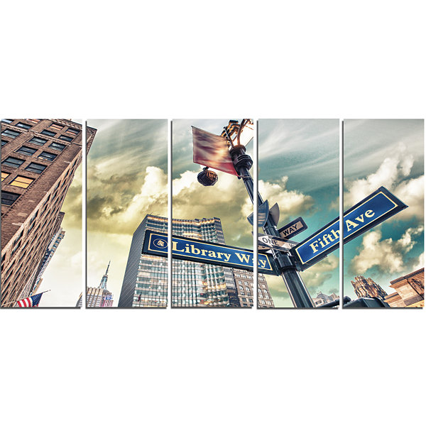Design Art Library Way And 5Th Avenue Street SignsModern Cityscape Canvas Art Print - 5 Panels