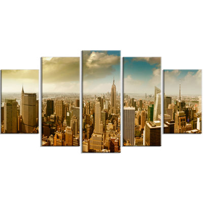 Designart Midtown And Downtown Manhattan Large Modern Cityscape Canvas Art Print - 5 Panels