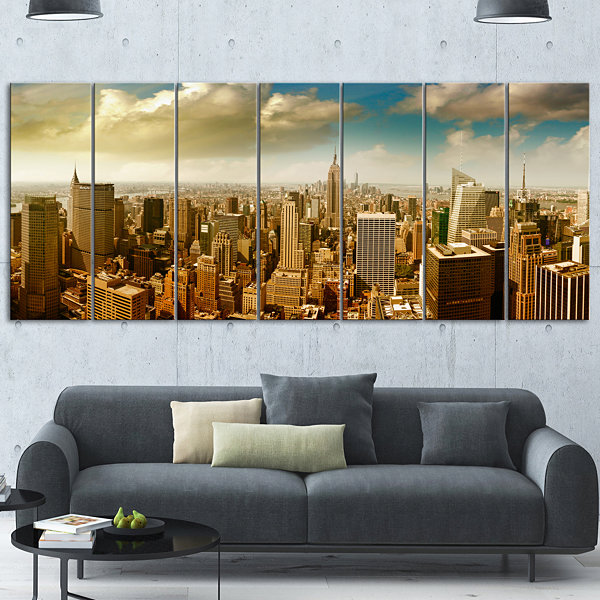 Designart Midtown And Downtown Manhattan Modern Cityscape Canvas Art Print - 5 Panels