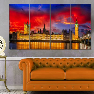 House Of Parliament At River Thames Modern Cityscape Canvas Art Print - 4 Panels