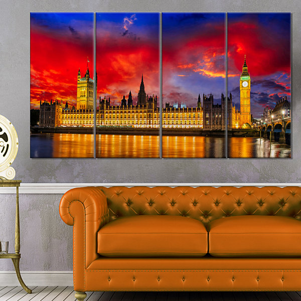 Designart House Of Parliament At River Thames Modern Cityscape Canvas Art Print - 4 Panels