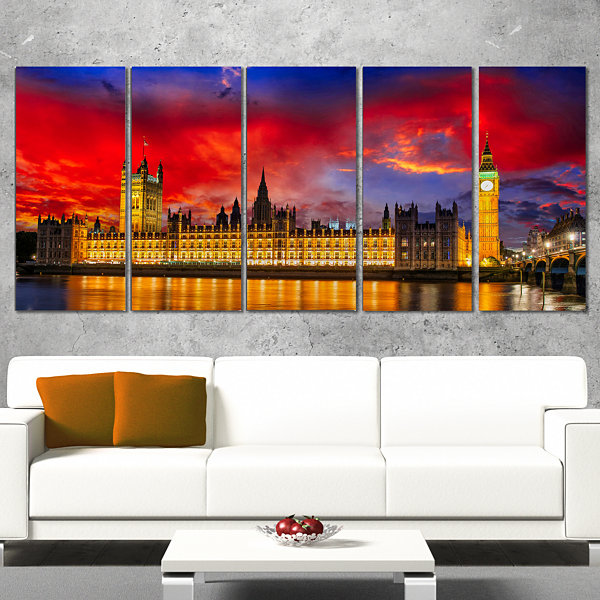Designart House Of Parliament At River Thames Modern Cityscape Canvas Art Print - 5 Panels