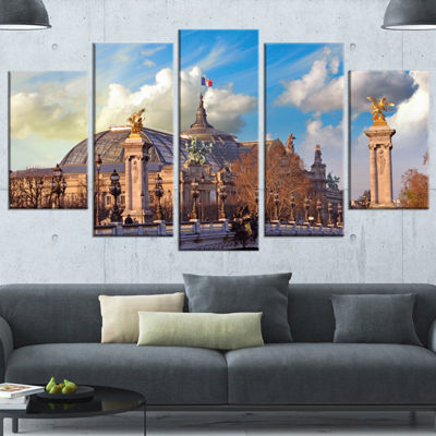 Designart Famous Great Palace In Paris Large Modern Cityscape Canvas Art Print - 5 Panels