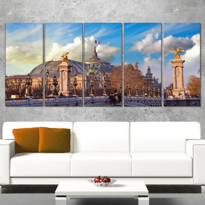 Designart Famous Great Palace In Paris Modern Cityscape Canvas Art Print - 5 Panels