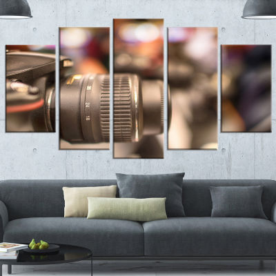 Designart Modern Camera In City Electronics ShopContemporary Wrapped Canvas Art Print - 5 Panels
