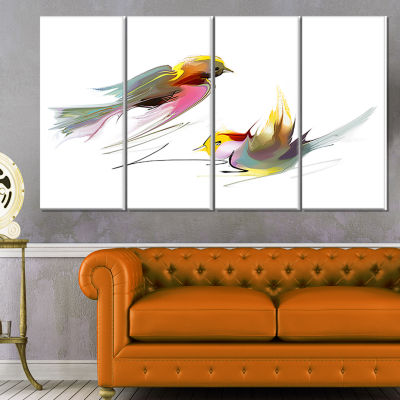 Designart Flying Birds Illustration Large AnimalCanvas Art Print - 4 Panels