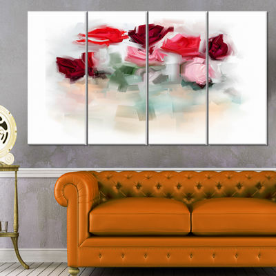Designart Rose Floral Watercolor Illustration Large Animal Canvas Art Print - 4 Panels