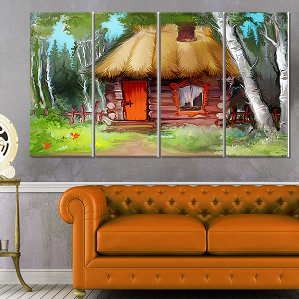 Designart Rural Landscape With House Extra LargeLandscape Canvas Art Print - 4 Panels