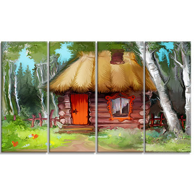 Rural Landscape With House Extra Large Landscape Canvas Art Print - 4 Panels