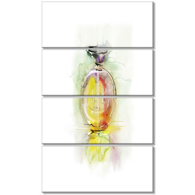 Designart Perfume Bottle Watercolor Large AnimalCanvas Art Print - 4 Panels