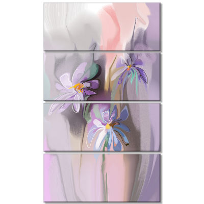 Blue Daisies Watercolor Large Animal Canvas Art Print - 4 Panels