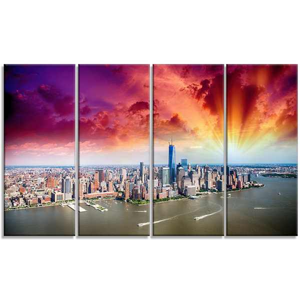 Designart Colorful New York Skyline Aerial View Modern Cityscape Canvas Art Print - 4 Panels