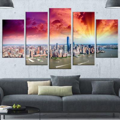 Design Art Colorful New York Skyline Aerial View Large ModernCityscape Canvas Art Print - 5 Panels