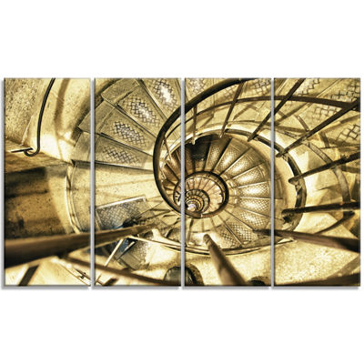 Designart Architectural Detail Of Paris In WinterAbstract Canvas Art Print - 4 Panels