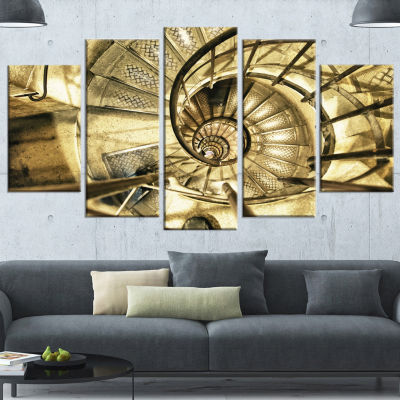 Designart Architectural Detail Of Paris In WinterBrown Abstract Canvas Art Print - 5 Panels
