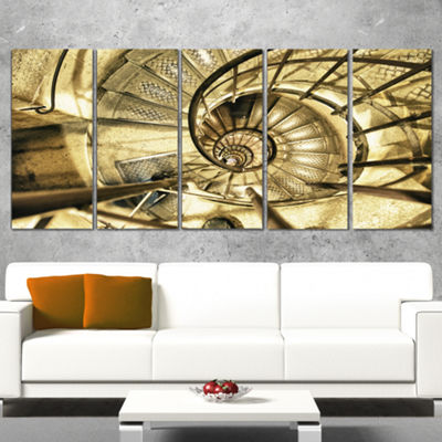 Designart Architectural Detail Of Paris In WinterAbstract Canvas Art Print - 5 Panels