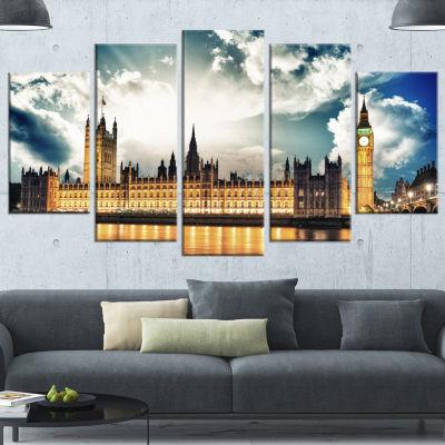 Designart Big Ben Uk And House Of Parliament GoldExtra Large Canvas Art Print - 5 Panels