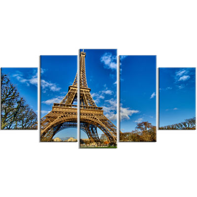 Designart Beautiful Winter Day In Paris Blue ExtraLarge Canvas Art Print - 5 Panels