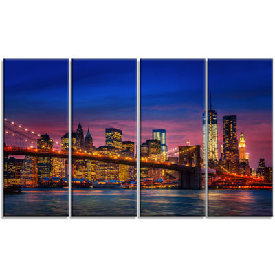 Designart Manhattan With Lights And Reflections Extra LargeCanvas Art Print - 4 Panels