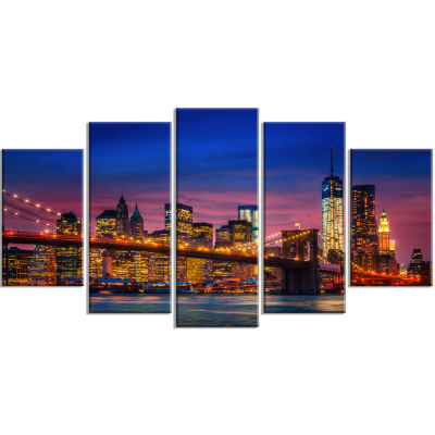 Manhattan With Lights And Reflections Blue Extra Large Canvas Art Print - 5 Panels