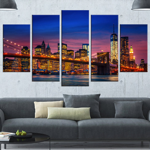 Designart Manhattan With Lights And Reflections Extra LargeCanvas Art Print - 5 Panels