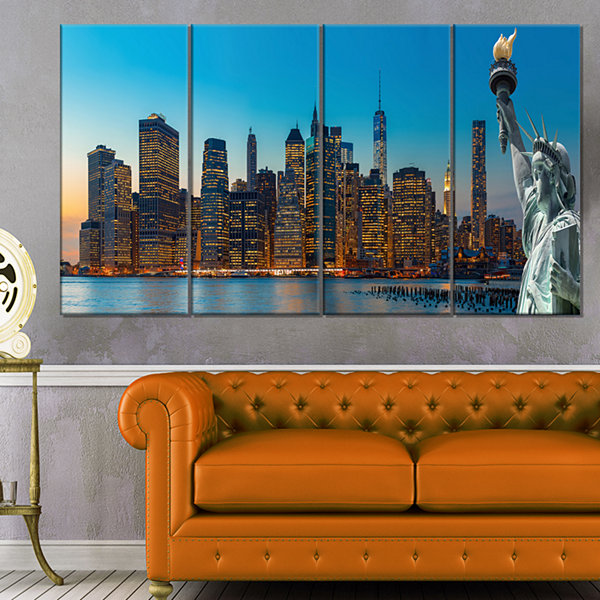 Designart Evening New York City Skyline PanoramaExtra LargeCanvas Art Print - 4 Panels