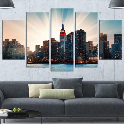Manhattan Skyline At Bright Sunset Blue Extra Large Canvas Art Print - 5 Panels