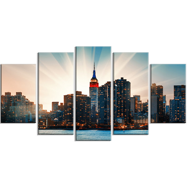Designart Manhattan Skyline At Bright Sunset BlueExtra Large Canvas Art Print - 5 Panels