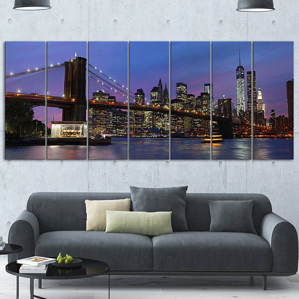 Design Art Brooklyn Bridge And Manhattan At SunsetExtra Large Canvas Art Print - 5 Panels