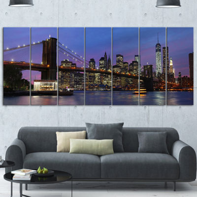 Designart Brooklyn Bridge And Manhattan At SunsetExtra Large Canvas Art Print - 5 Panels