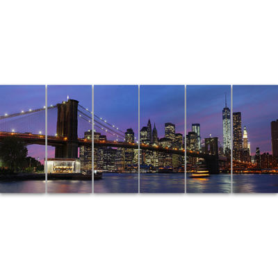 Designart Brooklyn Bridge And Manhattan At SunsetExtra Large Canvas Art Print - 6 Panels