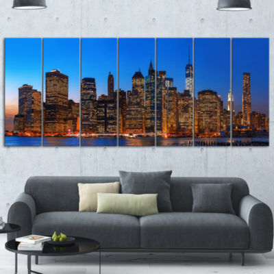 Night New York City Panorama Gold Extra Large Canvas Art Print - 5 Panels