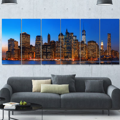 Designart Night New York City Panorama Extra LargeCanvas Art Print - 6 Panels