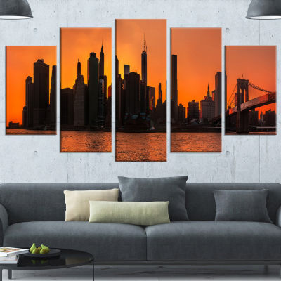 Silhouettes Of Manhattan Panorama Orange Extra Large Canvas Art Print - 5 Panels