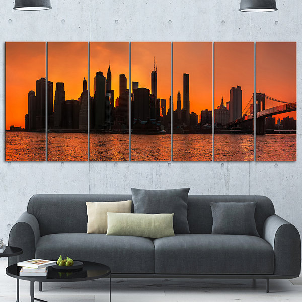 Designart Silhouettes Of Manhattan Panorama OrangeExtra Large Canvas Art Print - 5 Panels