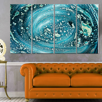 Precious Blue Fabulous Pattern Abstract Canvas ArtPrint - 4 Panels