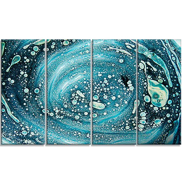 Designart Precious Blue Fabulous Pattern AbstractCanvas Art Print - 4 Panels