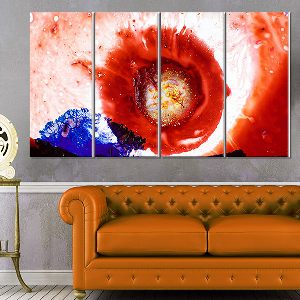 Design Art Beautiful Curlicue Of Paints Abstract Canvas Art Print - 4 Panels