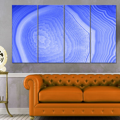 Designart Dark Blue Agate Structure Abstract Canvas Art Print - 4 Panels