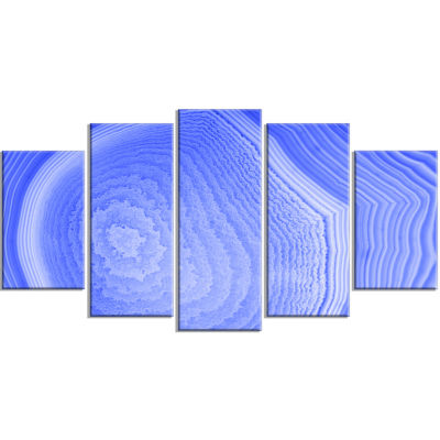 Dark Blue Agate Structure Contemporary Canvas ArtPrint - 5 Panels