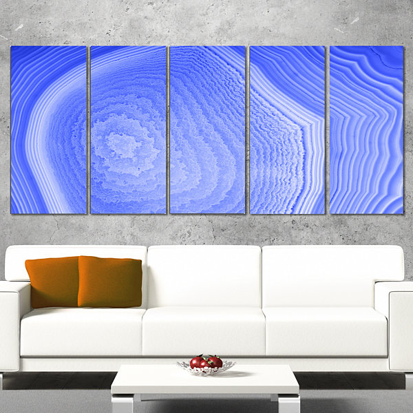 Designart Dark Blue Agate Structure Abstract Canvas Art Print - 5 Panels