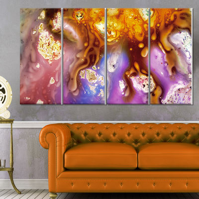 Colorful Precious Patterns Abstract Canvas Art Print - 4 Panels