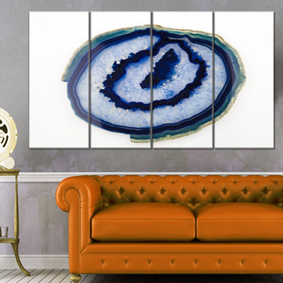 Designart Slice Of Beautiful Blue Agate AbstractCanvas Wall Art Print - 4 Panels