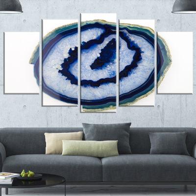 Designart Slice Of Beautiful Blue Agate Contemporary CanvasWall Art Print - 5 Panels