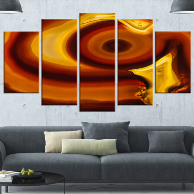 Agate Geode Slice Macro Abstract Canvas Wall Art Print - 4 Panels