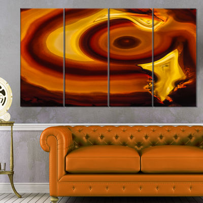 Designart Agate Geode Slice Macro Abstract CanvasWall Art Print - 4 Panels
