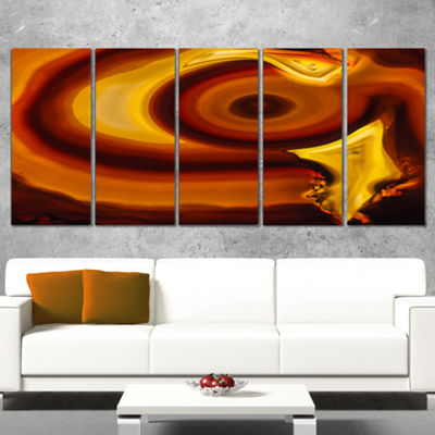 Designart Agate Geode Slice Macro Abstract CanvasWall Art Print - 5 Panels