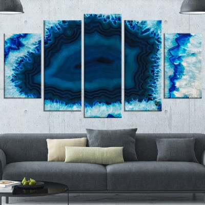 Brazilian Thunder Egg Abstract Canvas Wall Art Print - 5 Panels
